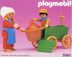 """5501 Women and Farmers Cart Playmobil Dollhouse by agatsuma. $55.54. From 4 years Age:; (c) Playmobil 2005 Geobra Brandstatter. Agatsuma.; Women farmers and cart 5501 Play Mobil; """"Playmobil"""" toys cute German-born. Mom and boy farmers. I'm happily carry in cart! Ideal to carry a large pot."""