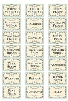 Vintage inspired shabby assorted herb spice food tea bottle jar labels stickers