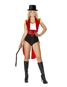 Five Piece Ring Leader Costume Includes Romper with Gold Trim, Waist Cincher…