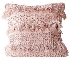 Creative Co-op Square Cotton Fringe Pillow, Pale Pink 191009055044 Blush Throw Pillow, Pink Throw Pillows, Boho Pillows, Cotton Pillow, Accent Pillows, Blush Pillows, Blush Pink Comforter, Blush Pink Bedroom, Target Throw Pillows