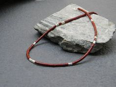 Red Jasper, Sterling Silver Heishi Necklace, Ethnic Necklace, Mens Tribal Necklace, Native American Jewelry, Insp., Unisex Beaded Necklace,