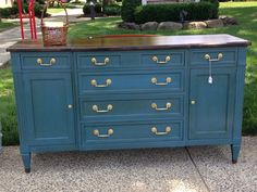 Deep Blue Chalk Painted Dresser Buffet Credenza by PassionForFlair, $450.00