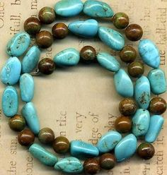 """Southwest Turquoise Blue Ovals Brown 6mm Rounds 10 12mm 16"""" Strd Lovely   eBay"""