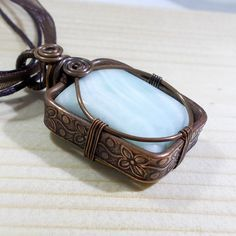 Blue Hemimorphite Copper Pendant Necklace by AnnaWireJewelry