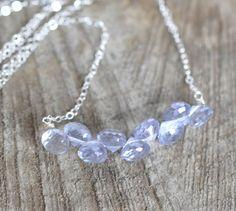 Blue Mystic Quartz Necklace Gemstone Bar Row by ShopGreyweather