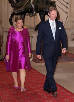 Henri, Grand Duke of Luxembourg and Maria Teresa, Grand Duchess of Luxembourg, arrive at a lunch for Sovereign Monarch's held in honour of Queen Elizabeth II's Diamond Jubilee, at Windsor Castle, on May 18, 2012 in Windsor, England.