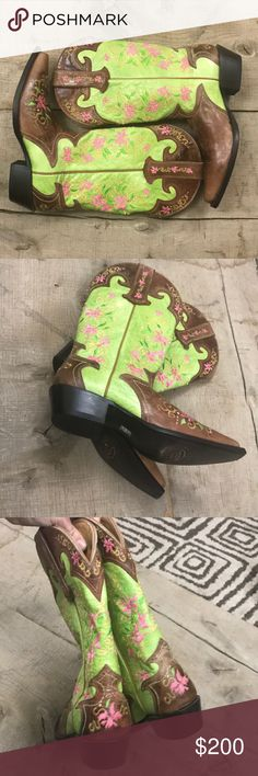 Sterling River Boots Sterling River Boots Size 9.5 NWOT/No box never been worn No flaws/no rips,no stains Beautiful boots Lime green with pink,yellow embroidered flowers  Any questions just ask! Sterling River Boots Shoes
