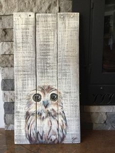 Owl painting on wood Owl painting on wood by WoodCreationsByJana on Etsy Pallet Painting, Tole Painting, Painting On Wood, Painting & Drawing, Wood Paintings, Pintura Tole, Urbane Kunst, Painted Boards, Painted Wood