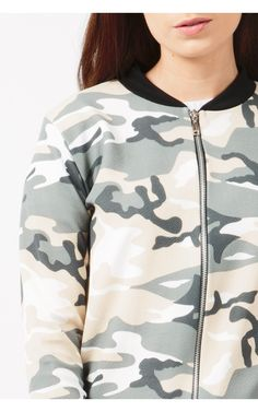 Khaki Camouflage Bomber Jacket | Select Fashion