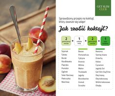 Przepis na koktajl idealny!  #getslimclub #koktajle #zielonesmoothies Healthy Cocktails, Diet Recipes, Healthy Recipes, Food Inspiration, Hot Chocolate, Smoothies, Clean Eating, Food Porn, Food And Drink