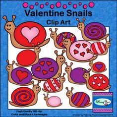 Valentine Snails Clip Art ($)