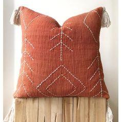 Silk Pillow, Cotton Pillow, Living Room Orange, Metal Clock, Boho Cushions, African Mud Cloth, Orange Pillows, Rust Color, Decoration
