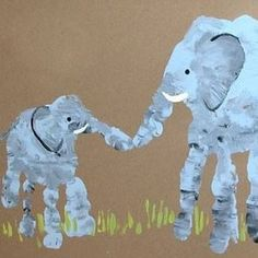 Elephant mom and baby handprint . also other ideas for hand/footprint art Rainy Day Activities For Kids, Craft Activities, Africa Activities For Kids, Childcare Activities, Fun Crafts, Crafts For Kids, Arts And Crafts, Children Crafts, Baby Crafts To Make