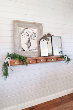 Christmas Living Rooms, Christmas Bedroom, Christmas Home, White Christmas, Shiplap Ceiling, Shaker Style Doors, Different Seasons, White Barn, Ranch Style