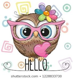 Cartoon Owl in a pink glasses with heart. Cute Cartoon Owl in a pink glasses with heart vector illustration Cute Cartoon Girl, Cute Cartoon Animals, Cute Animals, Cute Drawings, Animal Drawings, Cute Owl Drawing, Cartoon Mignon, Art Mignon, Owl Pictures