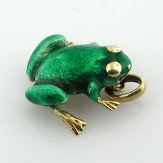 14K Gold Enameled Frog Vintage 3D Charm