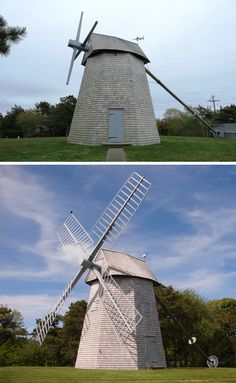 "An annual rite of spring at the Godfrey Windmill is when the sails (vanes) are reattached to the arms (stocks).  The sails are removed in the fall to reduce the potential for damage from ice storms and blizzards.  The mill's cap was also rotated as part of its spring maintenance, which is why the doors and window openings appear different in the two photos. (Upper photo courtesy of ""Maui2014NMR"" via TripAdvisor)  For more info. about this historic Cape Cod grist mill, visit…"