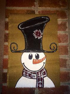 Frosty the Snowman Burlap Garden FlagMSUPersonalized by 2NightOwls, $20.00