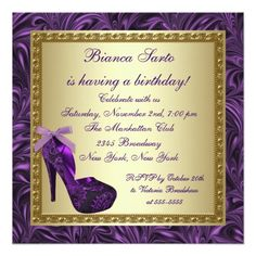 High Heel Shoes Womans Purple 50th Birthday Party 13 Cm X 13 Cm Square Invitation Card