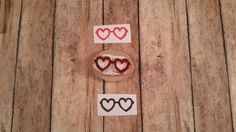 Heart Hand Carved Rubber Stamp Lolita Sunglasses by KindredStamps