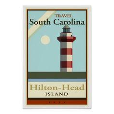 Travel South Carolina Poster  Beautiful travel image of South Carolina depicting Hilton Head Island.
