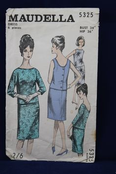 "Maudella Vintage Sewing Pattern 5325 Dress 1960s 36/"" 38/"" Ladies Size 12 14"