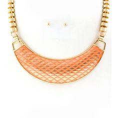 Metallic Peach Necklace & Earrings Set #thealchemyshop #fashion #style #jewelry