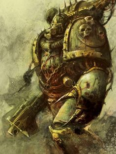 The plague-infested warriors of Nurgle's Death Guard make their way forward under cover of the most noxious of fogs...