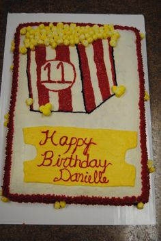 """popcorn"" cake  cool and creepy i like popcorn and it has my name on it"