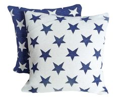 American Star Pillows, 18x18, Decorative Pillows, Navy Blue Cream  Cushion Covers, Old Americana, Country, Holiday Decor, Boys Bedding 18x18...