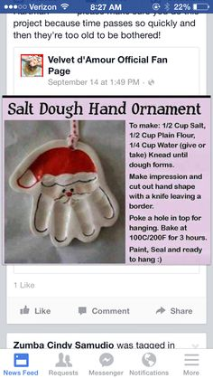 Salt hand print mold : Santa ornament