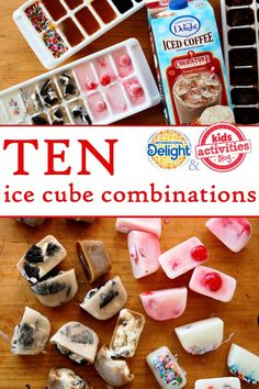 TEN Ice Cube Combinations -- cool ideas for fun & yummy kid activities (thinking of my niece & nephew)! Scones, Flavored Ice Cubes, Cube Recipe, Flavor Ice, Ice Cube Trays, Ice Tray, Protein Muffins, Snack Recipes, Snacks