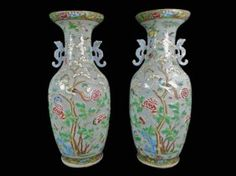 Pair Of 19th C. Chinese Celadon Ground Vases