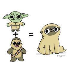 Yoda + Ewok = Pug. The origin of pugs Art Print