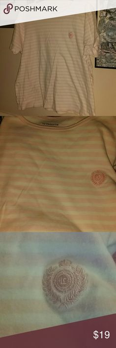 SZ 1X LIZ CLAIBORNE PINK WHITE STRIPE WITH LOGO Logo on top left breast area. Ribbed neckline solid pink. Otherwise pink and white stripe. Very nice!  Thanks for visiting my closet! Come again soon! Make me an offer! I love offers! I need offers please! Liz Claiborne Tops Tees - Short Sleeve