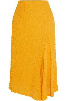 Sunshione-yellow silk-seersucker Concealed zip fastening at back 100% silk; trim: 82% polyester, 18% elastane; lining: 94% silk, 6% elastane Dry clean Made in the UK