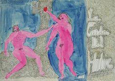 """Antonio BONILLA : """"La Caída del Hombre"""" ; fecha : 11 Noviembre 1982 ; tinta y guache sobre papel ; 24,5cm x 37,7cm ; colección MDAA"""