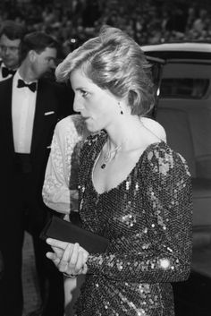 Princess Diana of Wales in dazzling sequined gown & royal jewels
