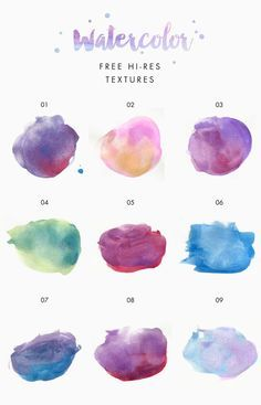 FREE Watercolor Texture Kit Freebie Hand painted Watercolor Splotches Strokes and backgrounds goldandberry blog gold and berry darmowe tekstury akwarela