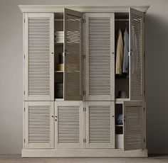 RH& Shutter Double Armoire:Angled louvers, an architectural detail first used in ancient Greece, have found a new place in the home. Plywood Furniture, Bathroom Furniture, Diy Furniture, Furniture Design, Wardrobe Doors, Wardrobe Closet, Pine Wardrobe, Bedroom Built Ins, Bedroom Storage