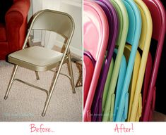 Spray painted folding chairs - before and after! Cute idea had I not invested in folding chair covers for parties, etc. Will think about! Do It Yourself Furniture, Do It Yourself Home, Painted Folding Chairs, Painted Chairs, Metal Chairs, Arm Chairs, Diy Projects To Try, Home Projects, Furniture Makeover