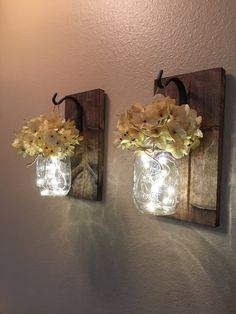 FLOWERS ARE INCLUDED IN THIS LISTING--- This is a set of two mason jar wall…