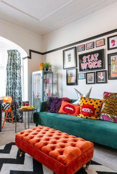 Home Living Room, Living Room Designs, Living Room Decor, Bedroom Decor, Pop Art Bedroom, Master Bedroom, Colourful Living Room, Colourful Home, Colourful Lounge