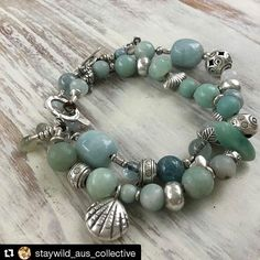 #Repost @staywild_aus_collective  My two favourite bracelets with #auquamarine and #amozonite and #hilltribesilver #myfaves #jewrellry #handmade #gyspy #silver #beach #surf #summer
