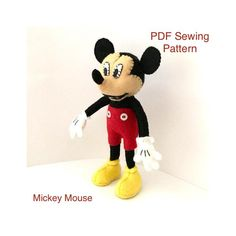 Felt Mickey Mouse sewing pattern felt mouse Disney Cartoon | Etsy Sewing Tutorials, Sewing Patterns, Monkey Pattern, Dragon Pattern, Felt Mouse, Embroidery Scissors, Felt Birds, Disney Cartoons, Digital Pattern