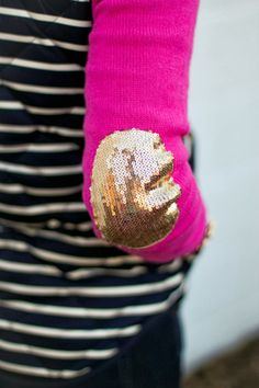 gold sequin elbow + stripes