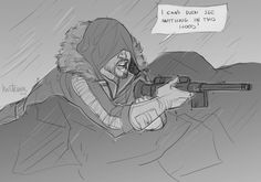 """""""isenstar777 said: Cassian has a fluffy hooded coat in the rain, but he never puts the hood up. What if he tried, but the hood was so big it covered his eyes? """" This is the real reason why he didn't..."""