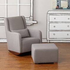 Marley Rocker & Ottoman (Grey)  | The Land of Nod   Stylish modern rocker that can grow with your son or transfer into another room once he is older.