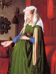 Houppelande - Detail – The Marriage of Giovanni Arnolfini and Giovanna Cenami, Jan van Eyck (c. 1434)