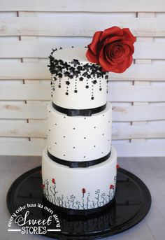 Black & White Wedding Cake with Red Rose - Cake by Karla Sweet Stories